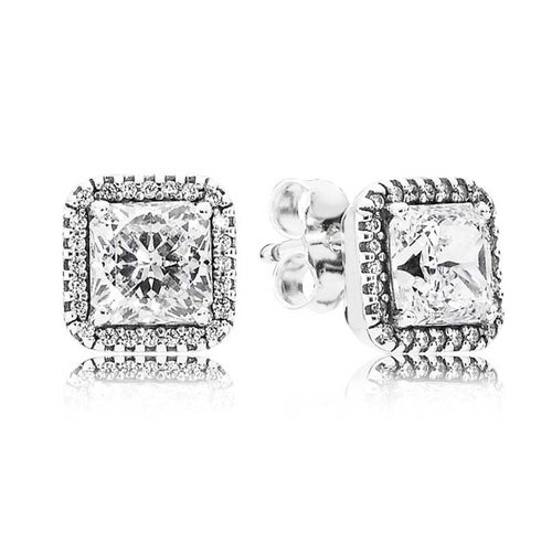 Pandora Square Sparkling Halo Stud Earrings