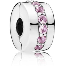 Load image into Gallery viewer, Pandora Pink Sparkling Row Clip Charm