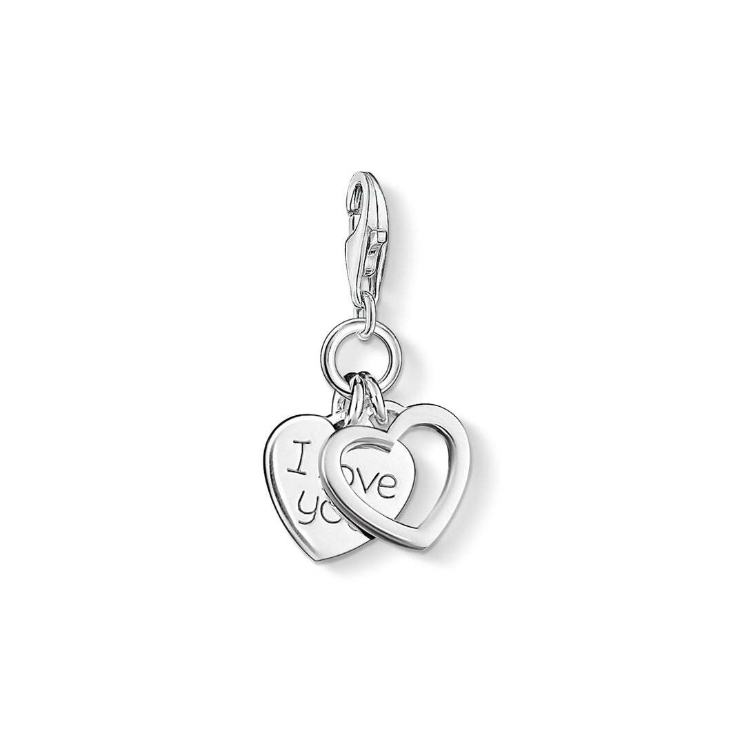 Thomas Sabo Sterling Silver I Love You Hearts Charm