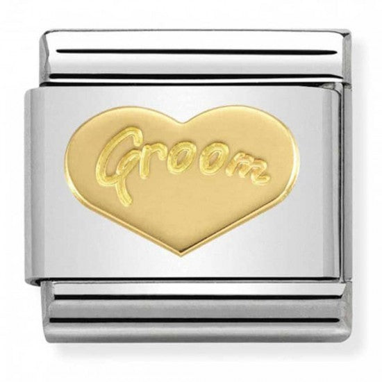 Nomination Yellow Gold Groom Heart Charm