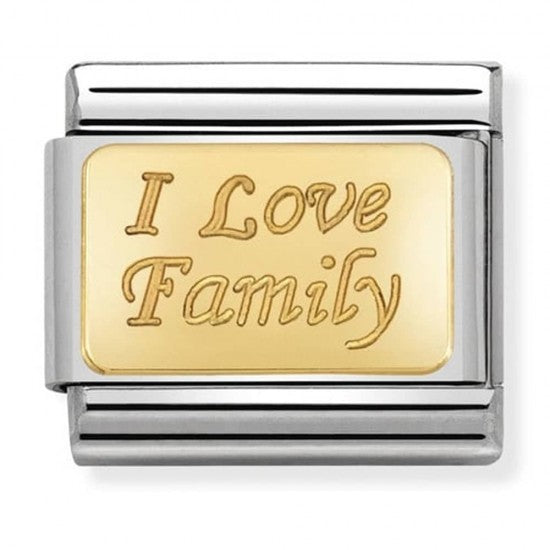 Nomination Yellow Gold I Love Family Charm