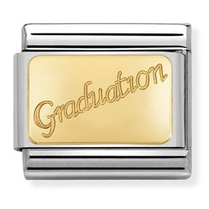 Nomination Yellow Gold Graduation Writing Charm