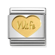 Load image into Gallery viewer, Nomination Yellow Gold Wife Heart Charm