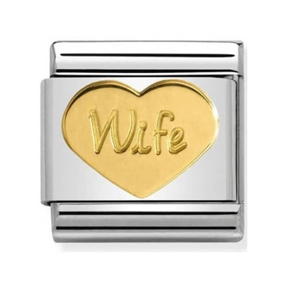 Nomination Yellow Gold Wife Heart Charm