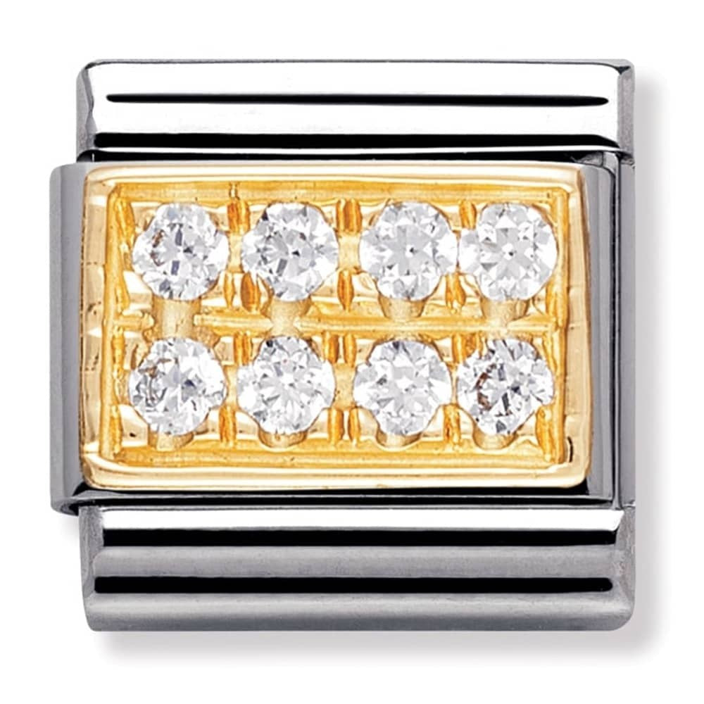 Nomination Yellow Gold, Cubic Zirconia White Charm