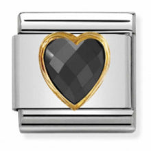 Load image into Gallery viewer, Nomination Yellow Gold Faceted Black Heart