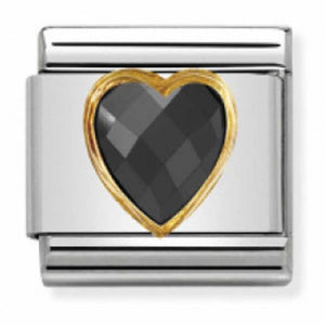 Nomination Yellow Gold Faceted Black Heart