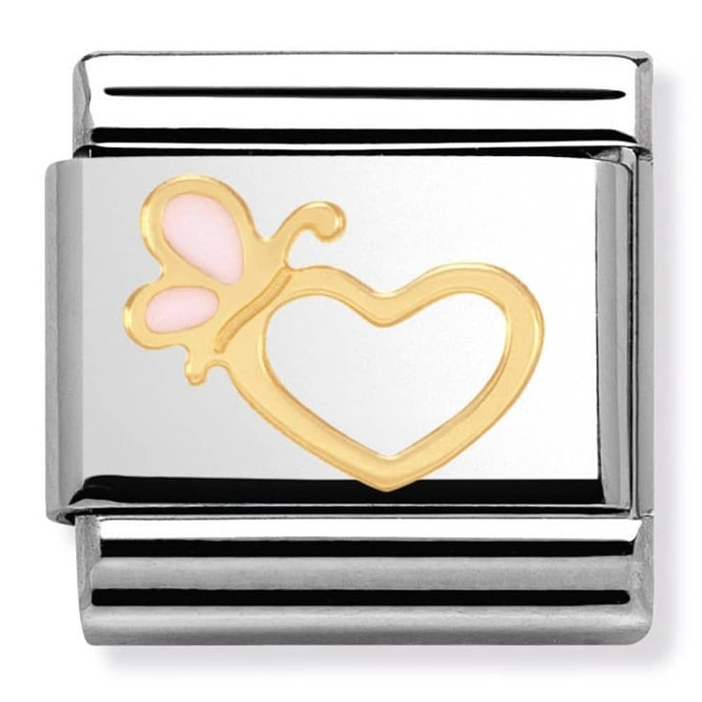Nomination Yellow Gold Heart With Butterfly Charm