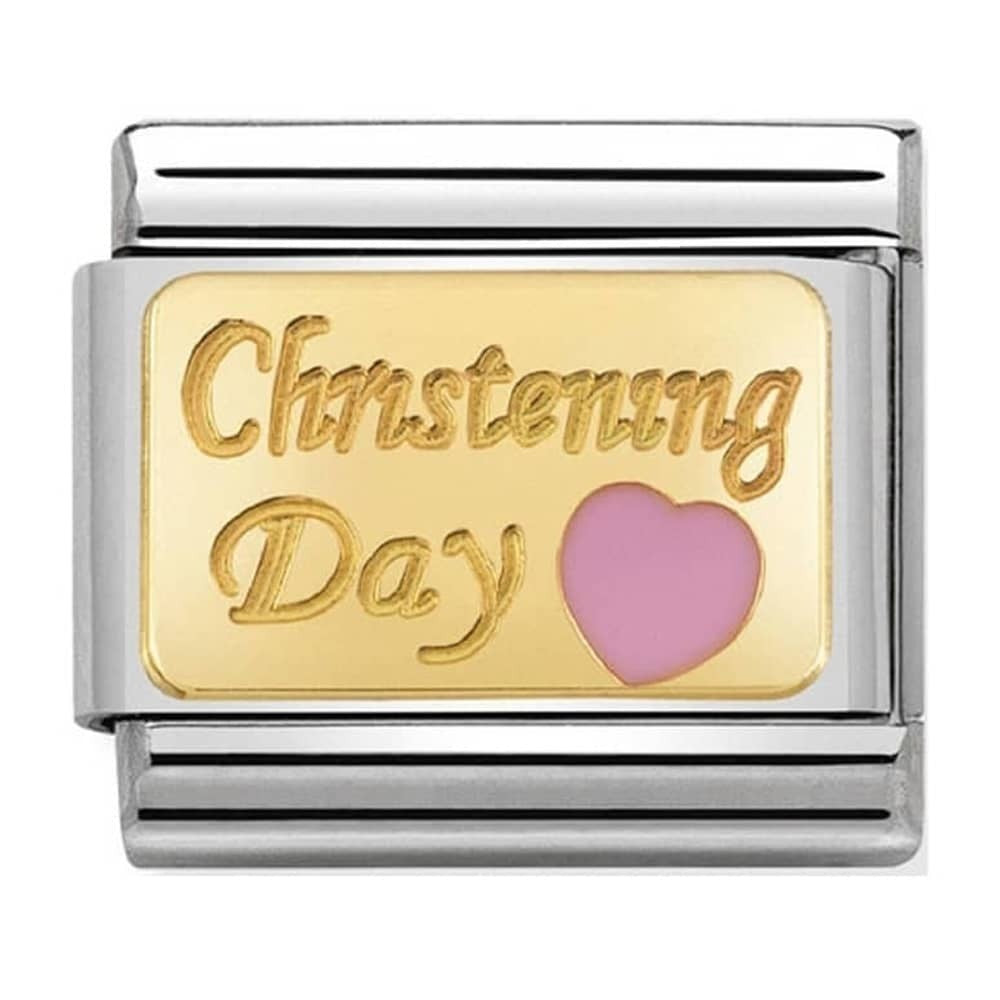 Nomination Yellow Gold Pink Heart Christening Day Charm