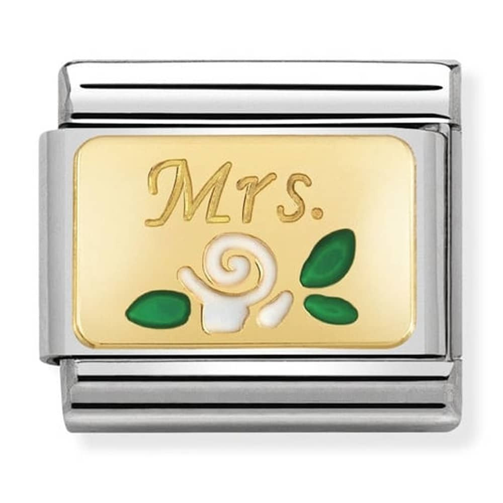 Nomination Yellow Gold Mrs White Rose Charm