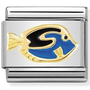 Nomination Yellow Gold Surgeon Fish Charm with Blue Enamel
