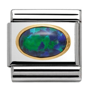 Nomination Yellow Gold With Natural Green Opal Oval Charm