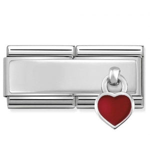 Nomination Silver Double Red Heart Charm