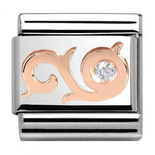 Load image into Gallery viewer, Nomination Rose Gold Swirl Charm with Cubic Zirconia