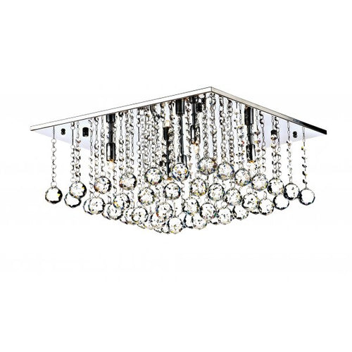 5 Light Square Semi Flush Ceiling Light - Polished Chrome