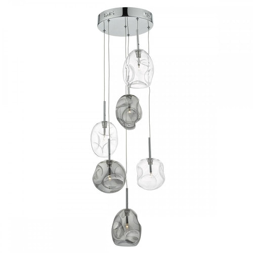 6 Light Cluster Pendant Ceiling Light - Smoked Glass