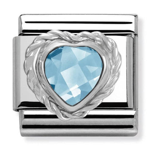 Nomination Silver Faceted Light Blue Heart