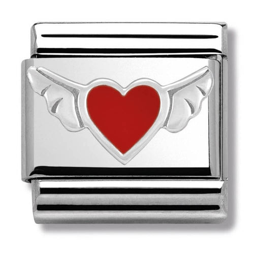 Nomination Silver Angel Wing Heart with Red Enamel