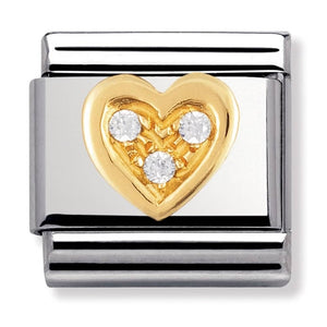 Nomination Yellow Gold White Heart Charm