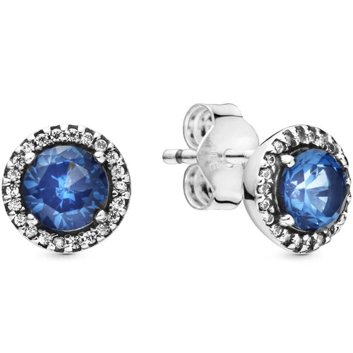 Pandora Blue Round Sparkling Stud Earrings