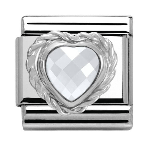 Nomination Silver White Faceted Heart Charm