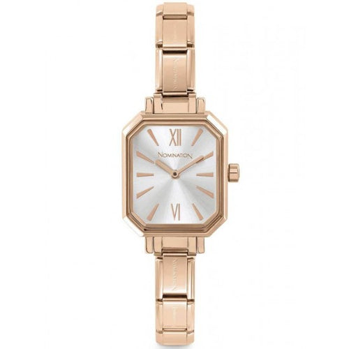 Nomination Watches- Stainless Steel With Rose Gold Electrplating Paris Rectangular Watch With Silver Face