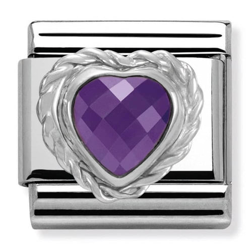 Nomination Silver Faceted Purple Heart Charm