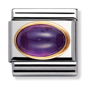 Nomination Yellow Gold Natural Stone Amethyst Oval Charm