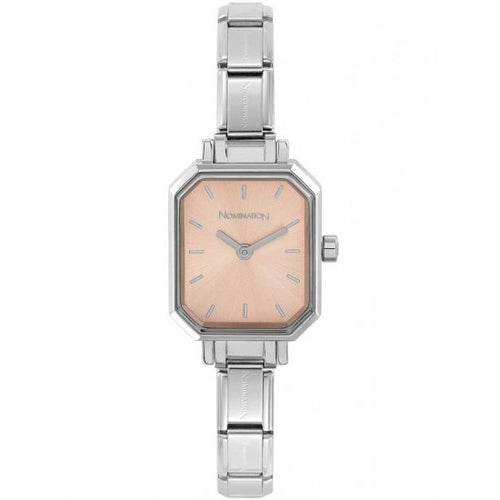 Nomination Watches- Stainless Steel Paris Rectangular Watch With Pink Face