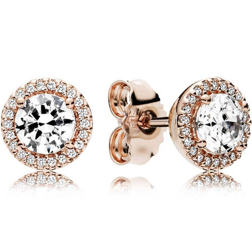 Pandora Rose Round Sparkling Halo Stud Earrings
