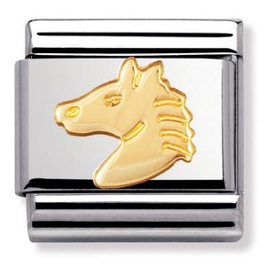 Nomination Yellow Gold Horse Head Charm