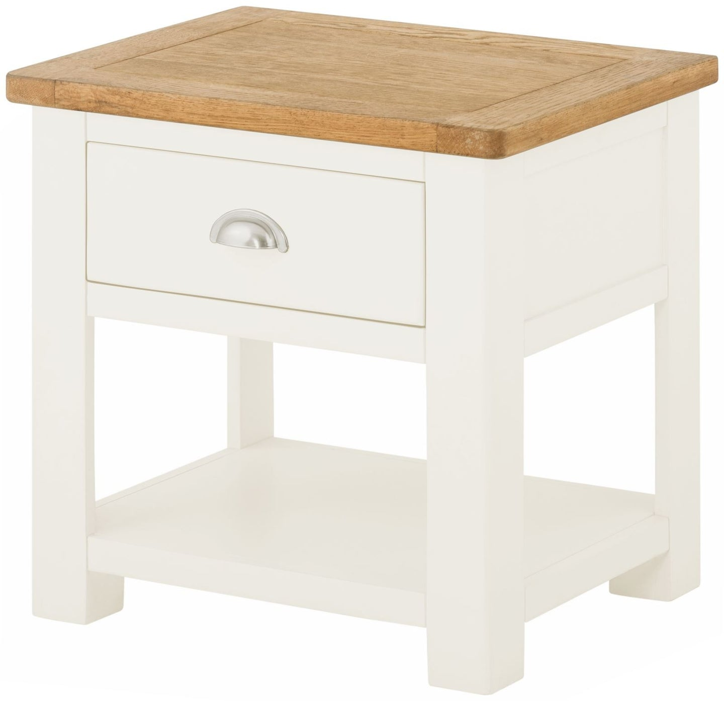 Cottage Lamp Table With Drawer White