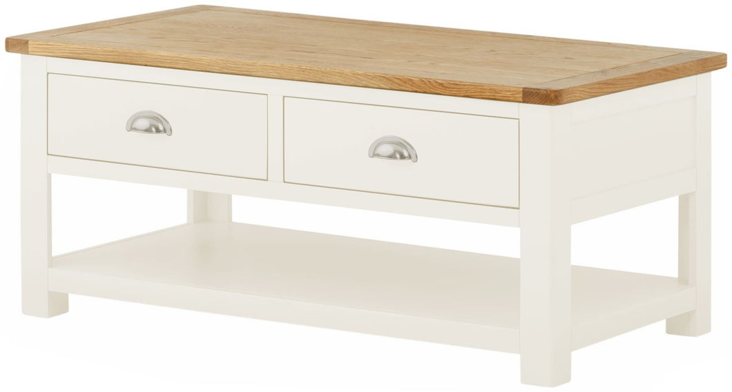 Cottage 2 Draw Coffee Table White