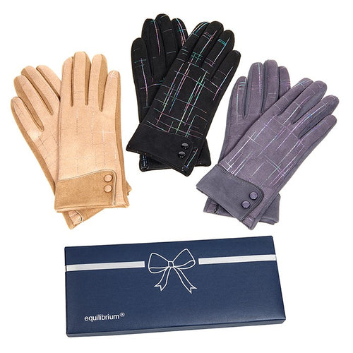Metallic Lines Boxed Gloves by Equilibrium