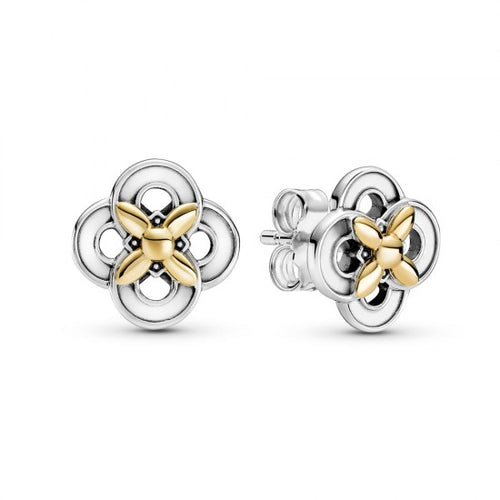 Pandora Two Tone Flower Stud Earrings