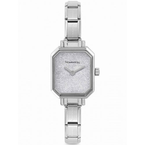 Nomination Watches- Stainless Steel Paris Rectangular Watch With Silver Glitter Face