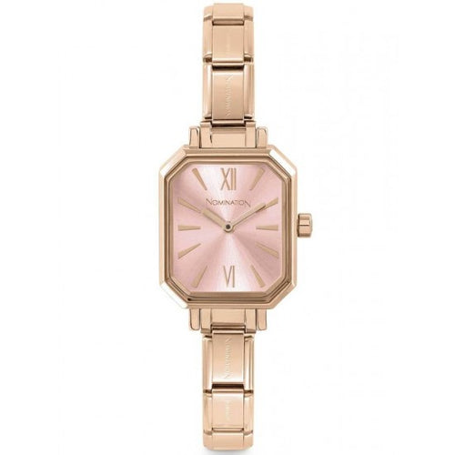 Nomination Watches- Stainless Steel With Rose Gold Electrplating Paris Rectangular Watch With Pink Face
