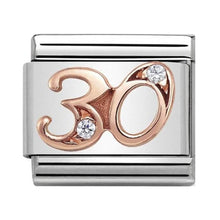 Load image into Gallery viewer, Nomination Rose Gold Age 30 Charm with Cubic Zirconia