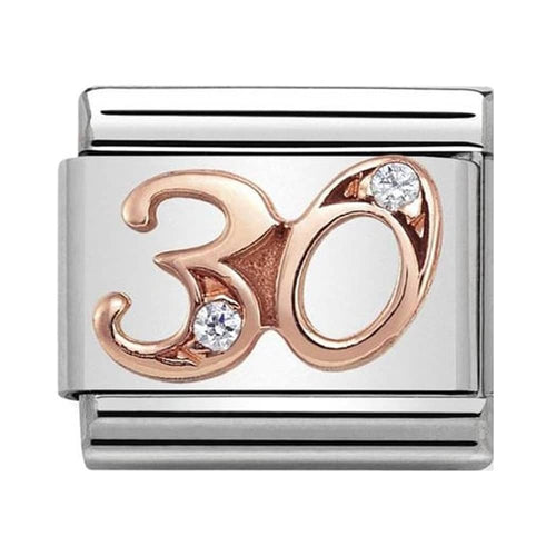 Nomination Rose Gold Age 30 Charm with Cubic Zirconia