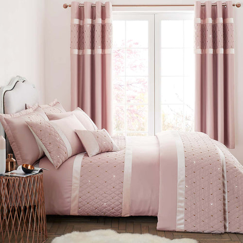 Catherine Lansfield - Sequin Cluster King Size Quilt Set Blush