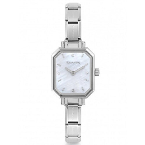Nomination Watches- Stainless Steel Paris Rectangular Watch With Mother Of Pearl Face