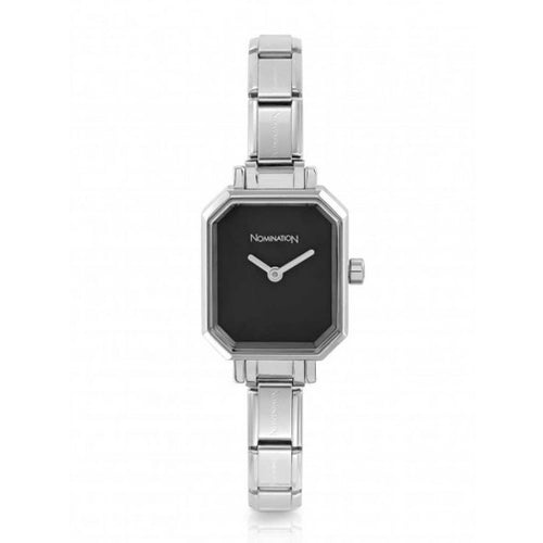 Nomination Watches- Stainless Steel Paris Rectangular Watch With Black Face