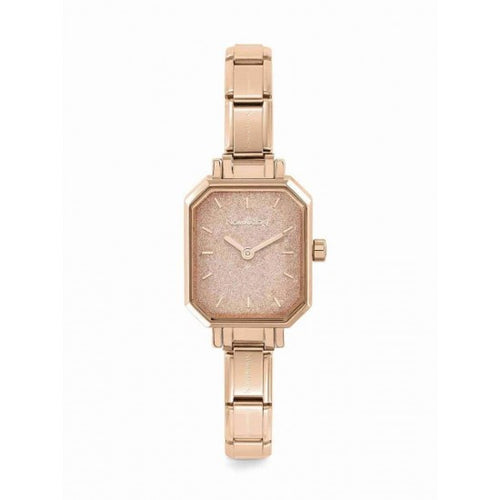 Nomination Watches- Stainless Steel With Rose Gold Electrplating Paris Rectangular Watch With Glitter Rose Gold Face
