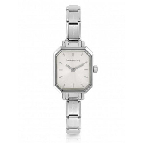 Nomination Watches- Stainless Steel Paris Rectangular Watch With Silver Face