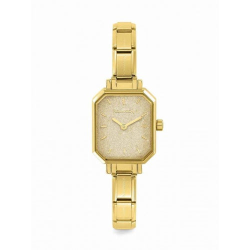 Nomination Watches- Stainless Steel With Yellow Gold Electrplating Paris Rectangular Watch With Glitter Yellow Gold Face