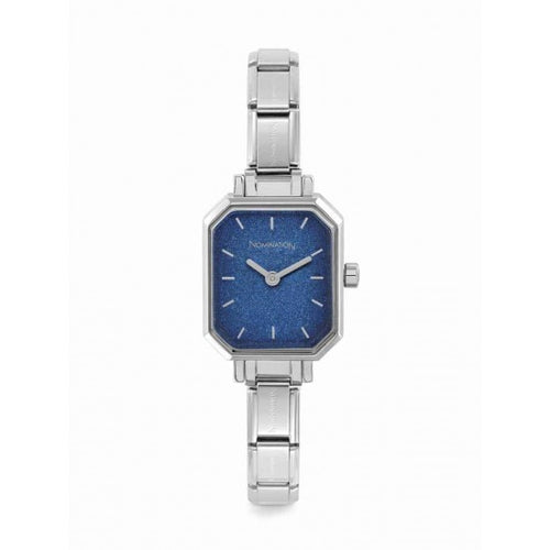 Nomination Watches- Stainless Steel Paris Rectangular Watch With Blue Glitter Face