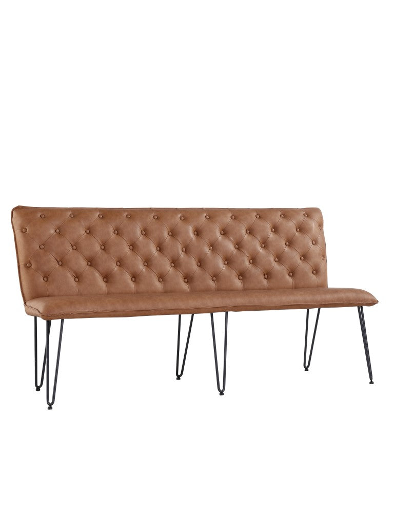 Lucca Studded Dining Bench 180 - Tan