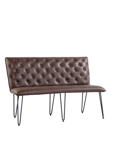 Lucca Studded Dining Bench 140 - Brown
