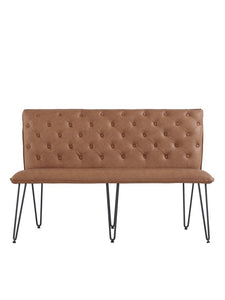 Lucca Studded Dining Bench 140 - Tan