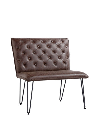Lucca Studded Dining Bench 90 - Brown